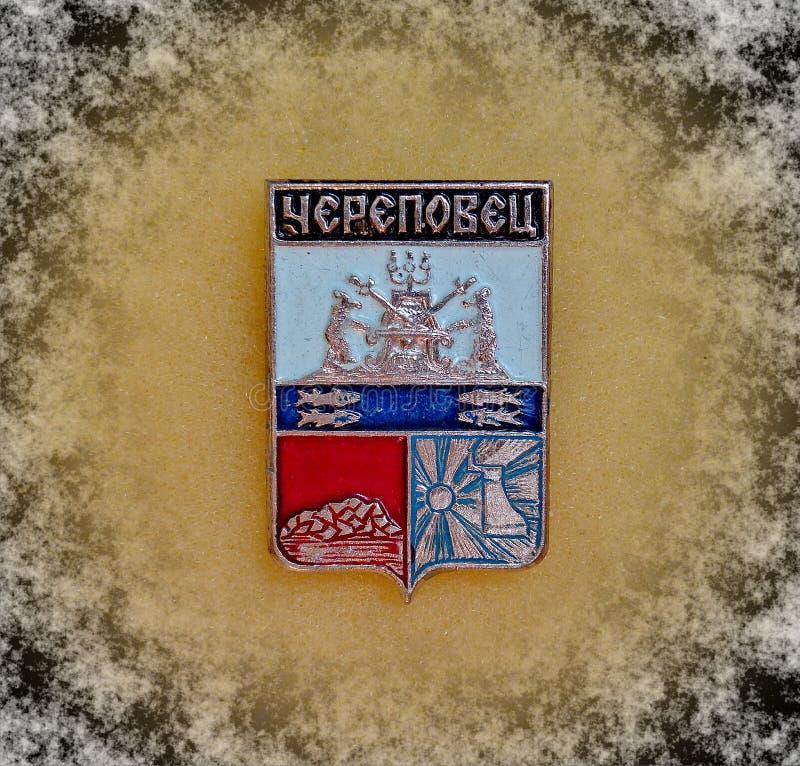 与徽章的徽章切列波维茨,沃洛格达州的从苏联的系列'城市的地区' 特写镜头 Faleristics 免版税库存图片