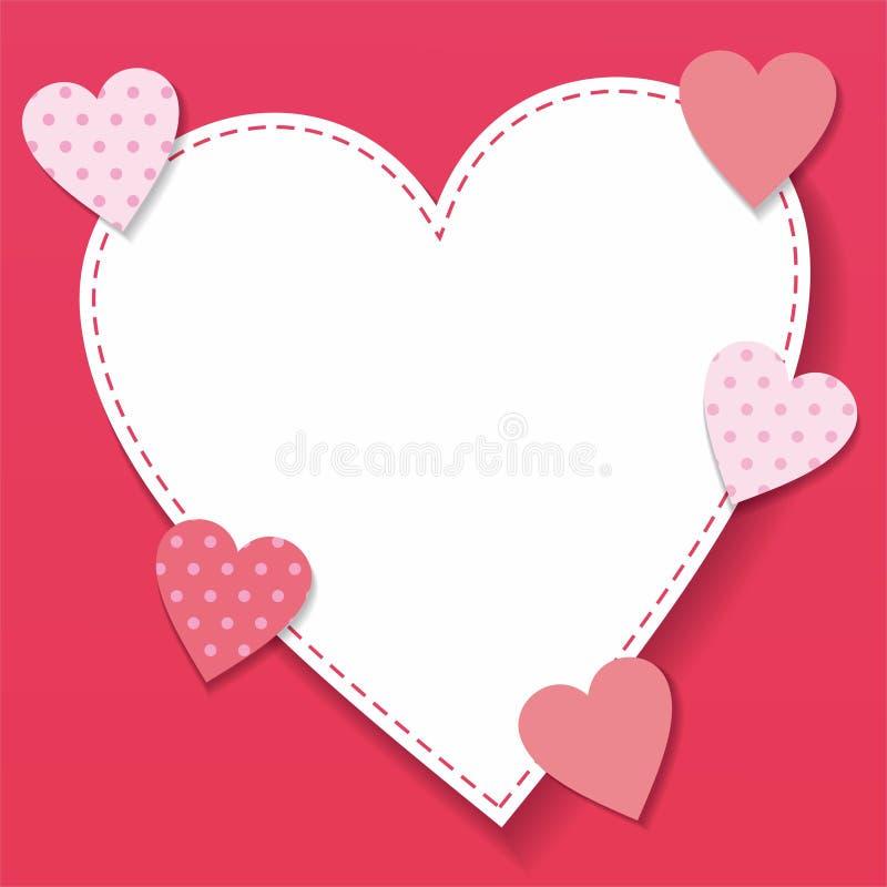 与心形和粉色的华伦泰背景 库存例证