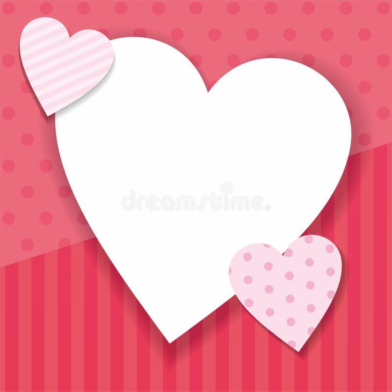 与心形和粉色的华伦泰背景 向量例证