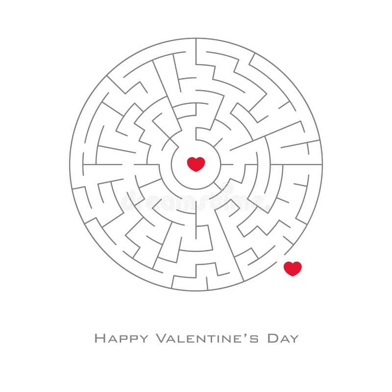 与心形的情人节背景在迷宫和迷宫样式,飞行物,邀请,海报,小册子,横幅 向量例证