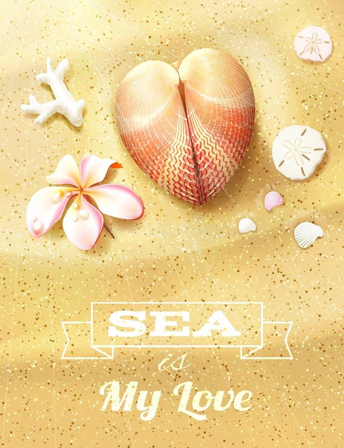 与心形的贝壳的晴朗的沙丘 皇族释放例证