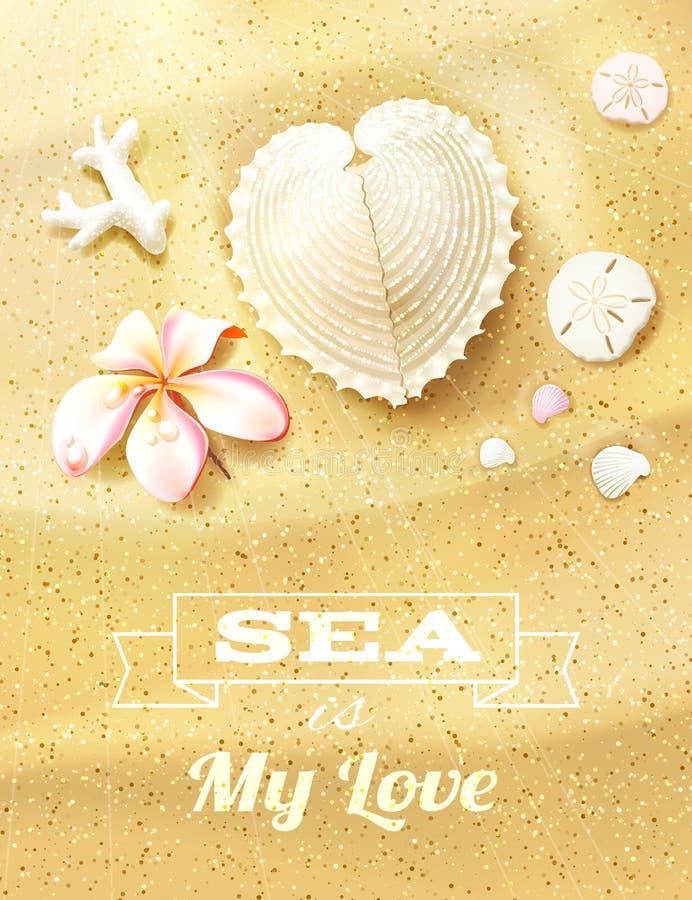 与心形的贝壳的晴朗的沙丘 库存例证