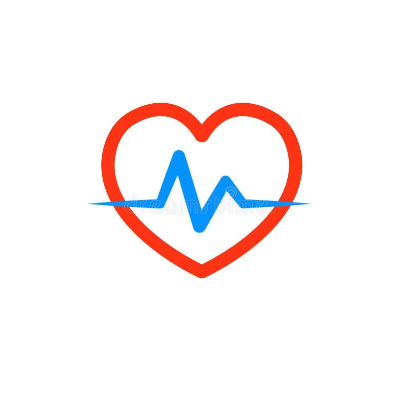 与心电图的心脏 诊所的,制药公司商标 急救医生,商标  在空白背景查出的向量 皇族释放例证