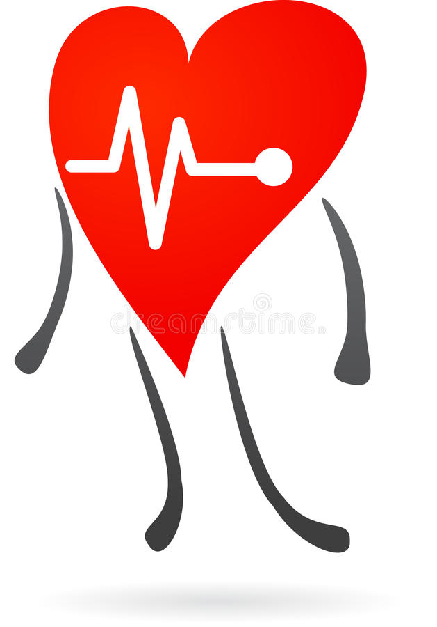 与心电图的红色重点 库存例证