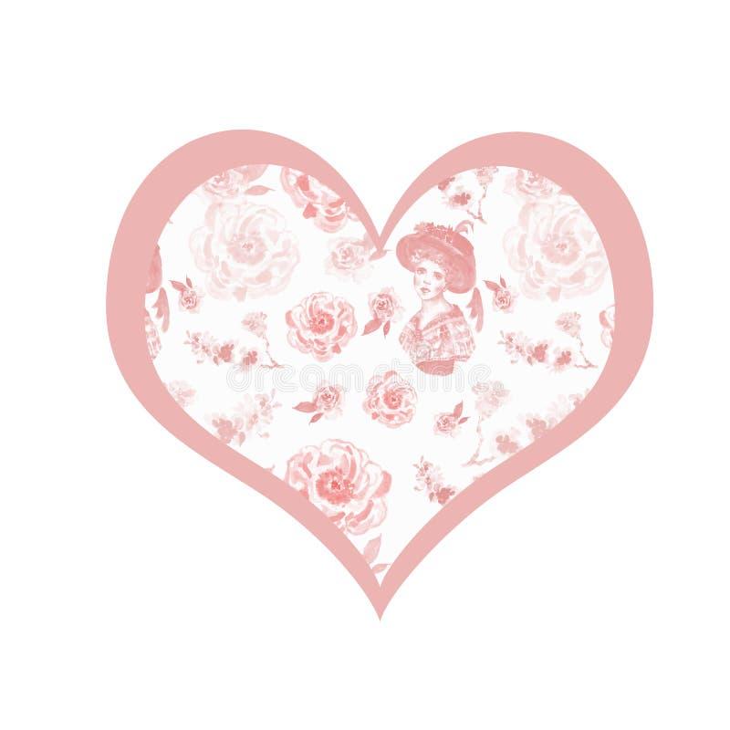与心脏、佳丽世纪妇女画象和精美桃红色花的葡萄酒减速火箭的样式卡片在白色背景 皇族释放例证
