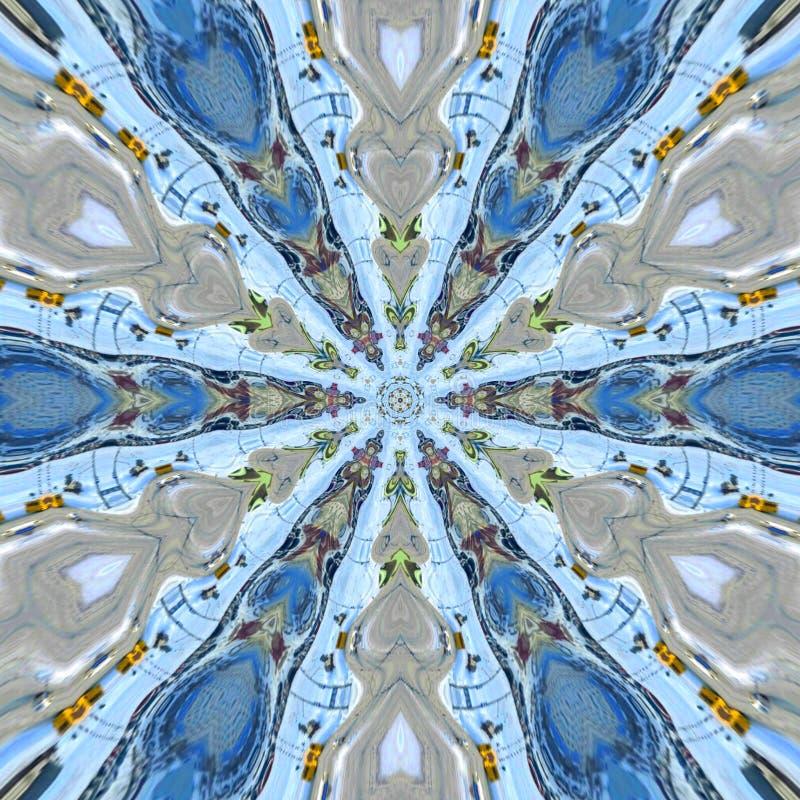 与心脏元素的蓝星坛场 免版税图库摄影
