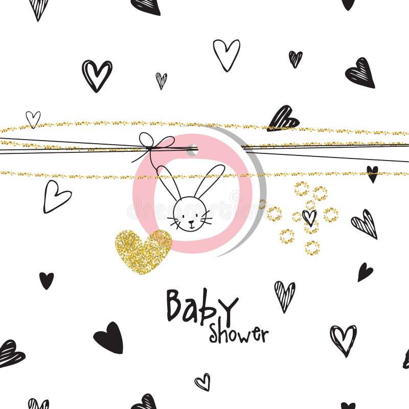 与心脏和兔子的婴儿送礼会背景 向量例证