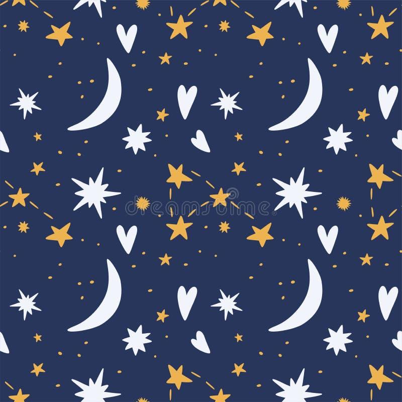 与心脏和月亮无缝的样式的满天星斗的天空 向量例证