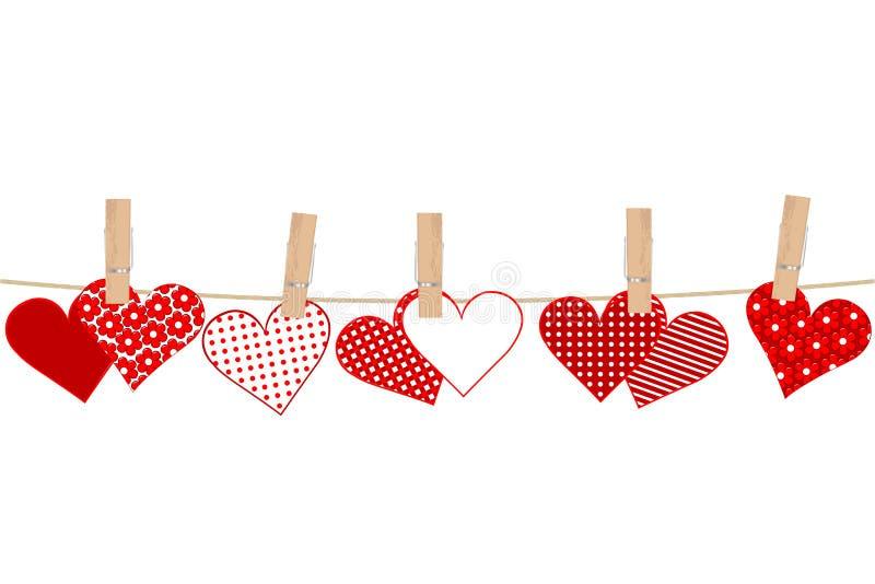 与心脏和服装扣子o的情人节概念 皇族释放例证