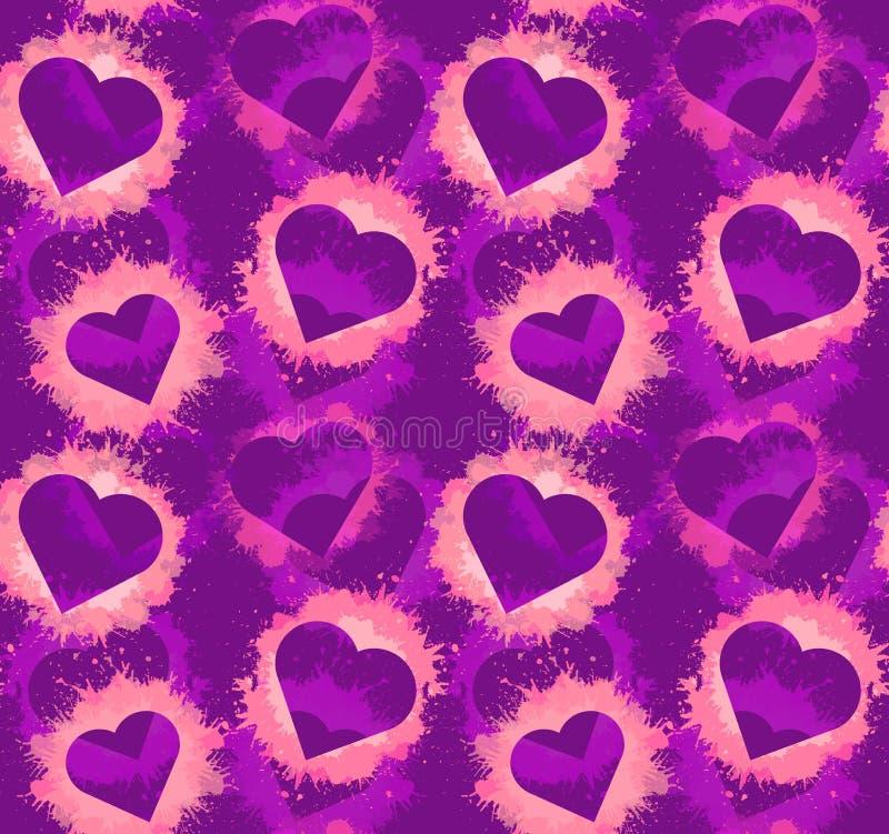 与心脏和桃红色水彩的无缝的霓虹样式在紫罗兰色背景飞溅 最佳的下载原来的打印准备好的纹理导航 向量例证