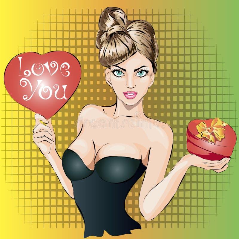 与心脏和礼物盒的情人节画报性感的妇女画象 向量例证