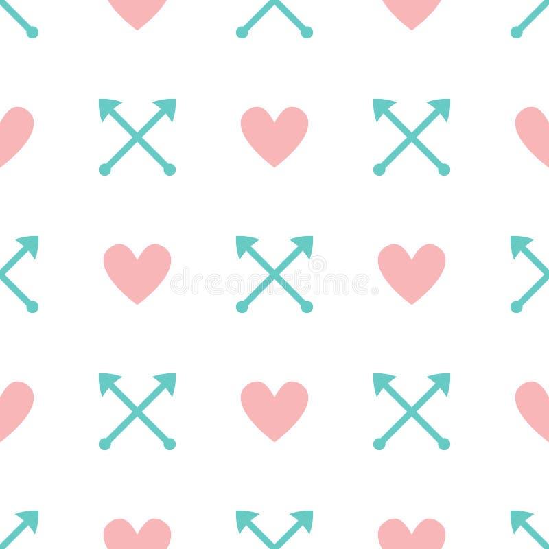 与心脏和箭头的浪漫无缝的样式 逗人喜爱的淡色印刷品 库存例证