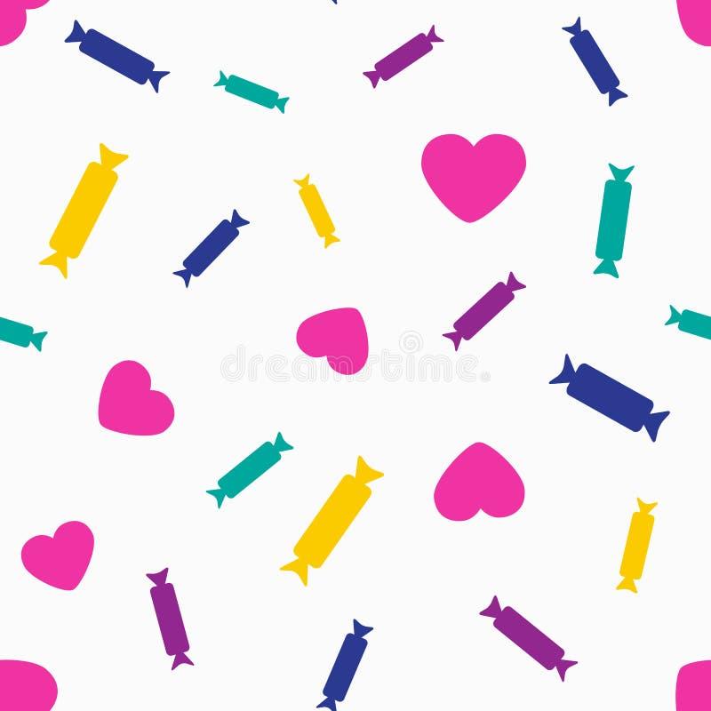 与心脏和糖果的五颜六色的无缝的样式 r 皇族释放例证