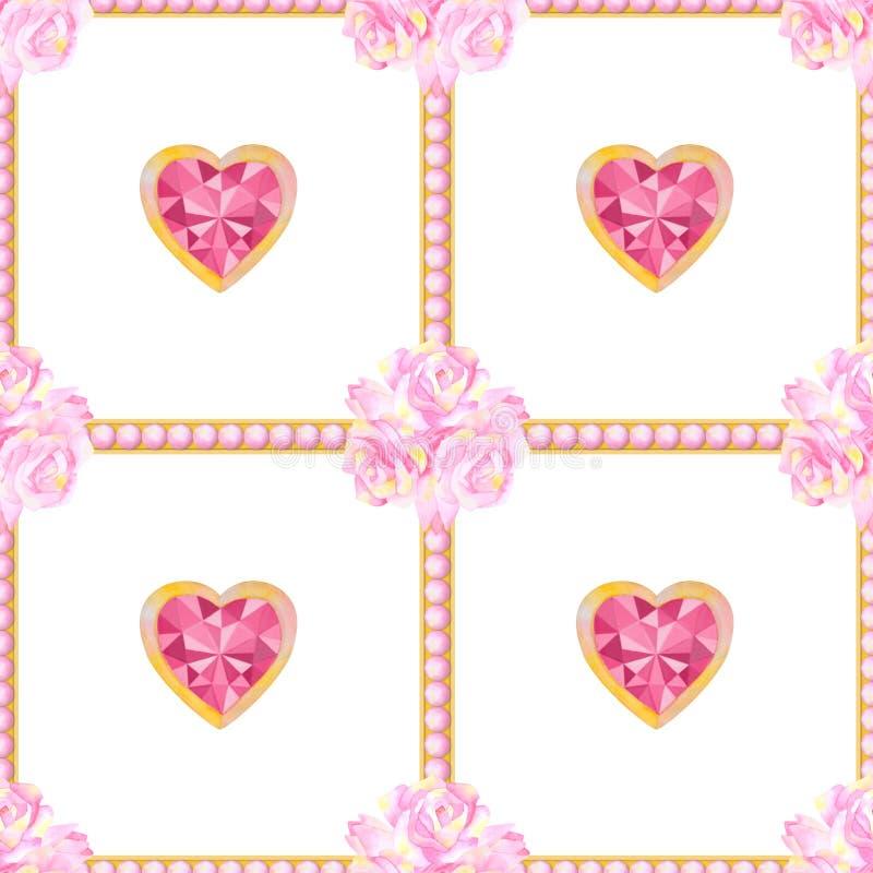 与心脏和花的水彩无缝的样式 向量例证