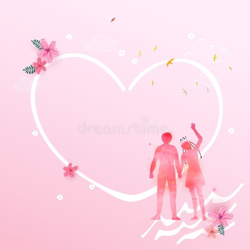 与心脏和花背景的愉快的夫妇恋人togather,喜帖或者订婚,允诺,情人节,幸福, 皇族释放例证