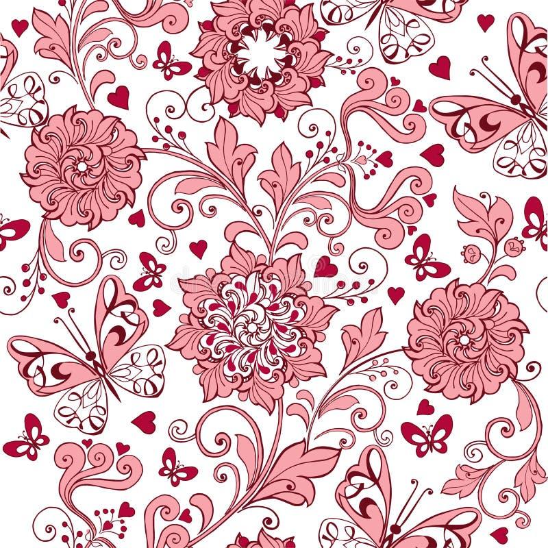 与心脏和蝴蝶的葡萄酒桃红色无缝的样式 织品的,纺织品,包装纸典雅的背景 向量例证
