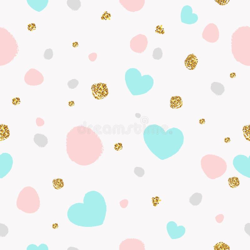 与心脏和金黄闪烁纹理的五颜六色的抽象无缝的样式 皇族释放例证