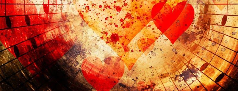 与心脏和音乐笔记的美好的拼贴画, symbolizining爱对音乐 库存图片