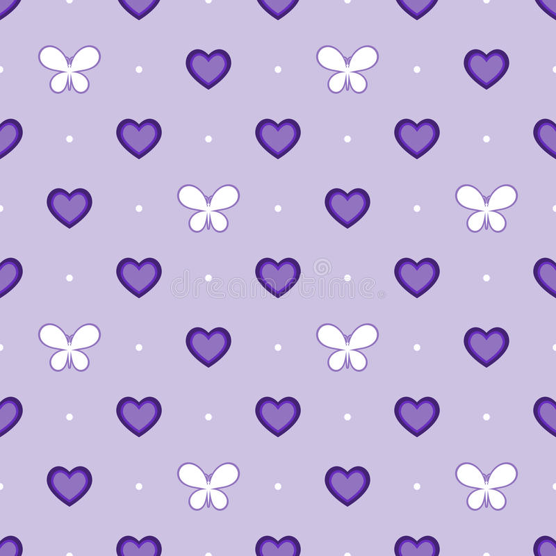 与心脏和蝴蝶,传染媒介的无缝的紫罗兰色样式 皇族释放例证