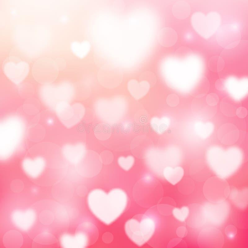 与心脏和bokeh光的抽象浪漫桃红色背景 StValentines天墙纸 向量例证