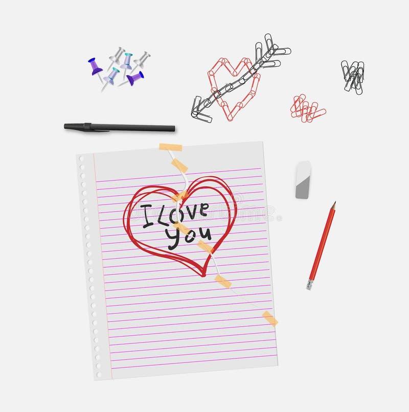 与心脏图画的笔记本在书桌项目旁边的纸和我爱你文本 皇族释放例证