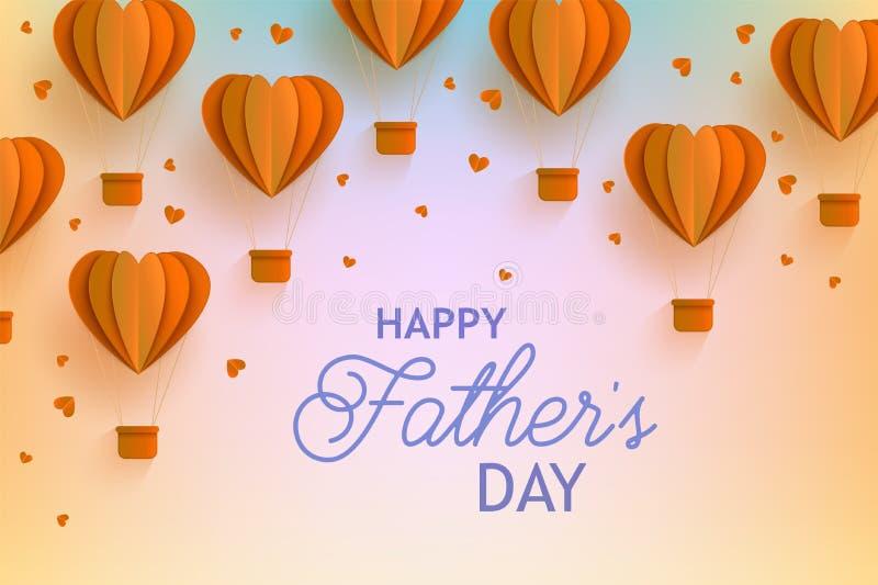 与心脏形状橙色热空气气球的愉快的父亲节横幅在时髦纸艺术样式和问候信号的 皇族释放例证