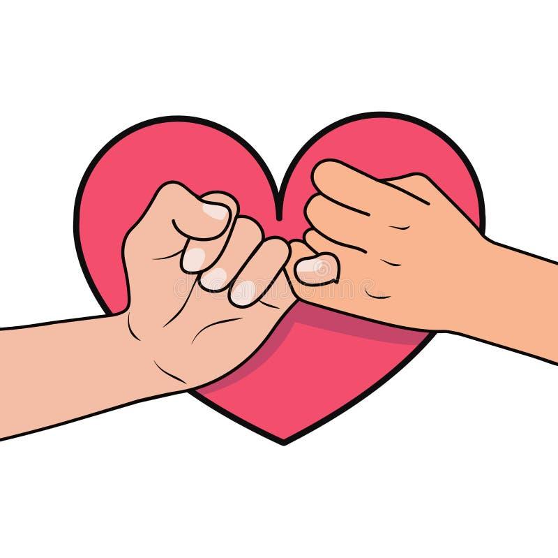 与心脏形状的带淡红色的诺言 库存例证