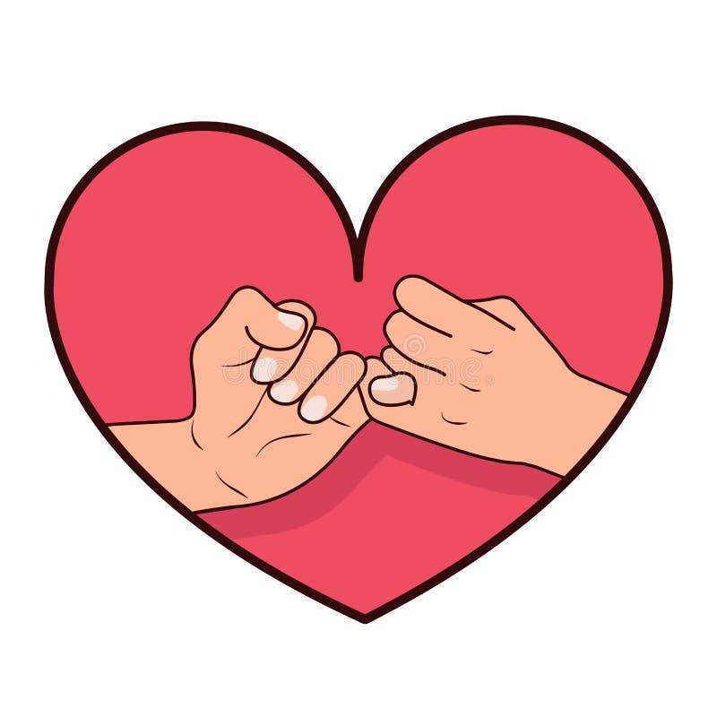 与心脏形状的手带淡红色的诺言 向量例证