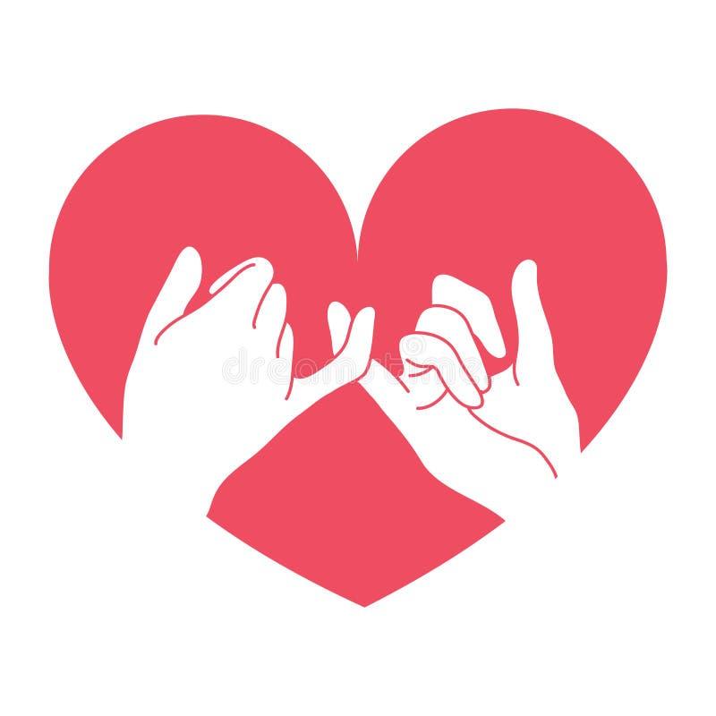 与心脏形状的手拉的带淡红色的诺言 皇族释放例证