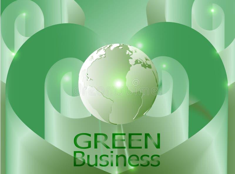 与心脏形状绿色丝带的绿色企业背景Vector_Globe 向量例证