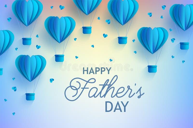 与心脏形状蓝色热空气气球的愉快的父亲节横幅在纸艺术样式的和问候签字 向量例证
