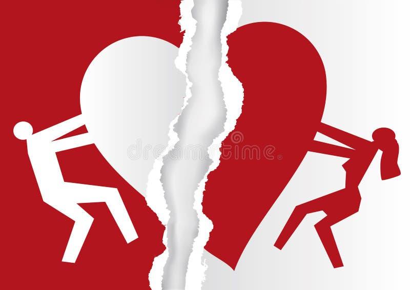 与心脏标志的离婚的夫妇,白色和红色被剥去的纸 库存例证