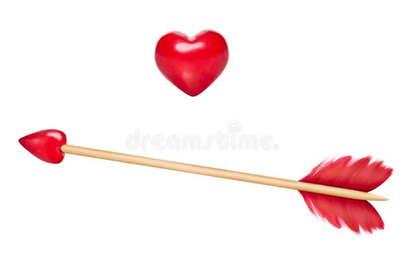与心脏的丘比特的箭头 库存照片