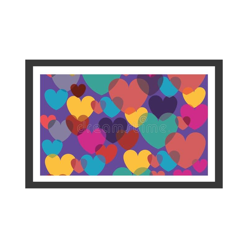 与心脏的五颜六色的装饰画框 库存例证
