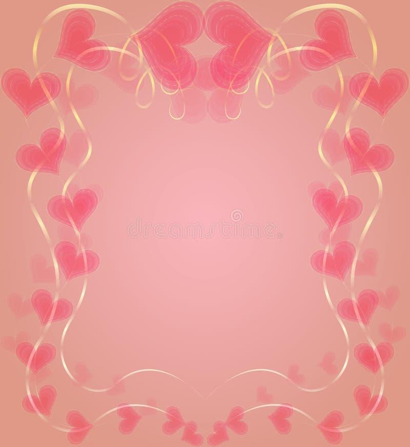 与心脏的优美的框架对情人节 向量例证