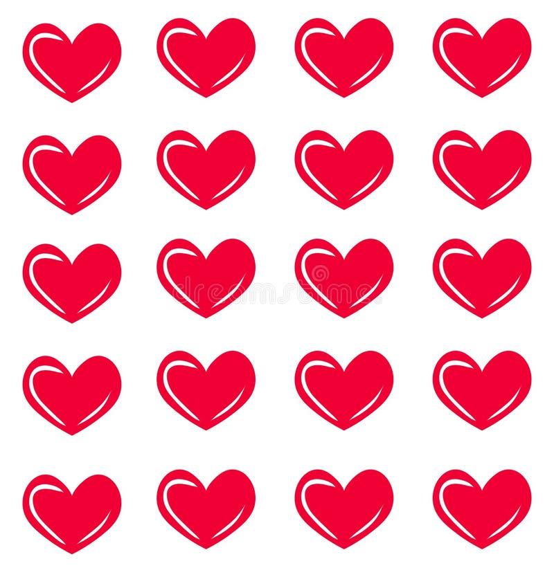 与心脏的传染媒介无缝的样式 心脏印刷品 时尚纹理 向量例证