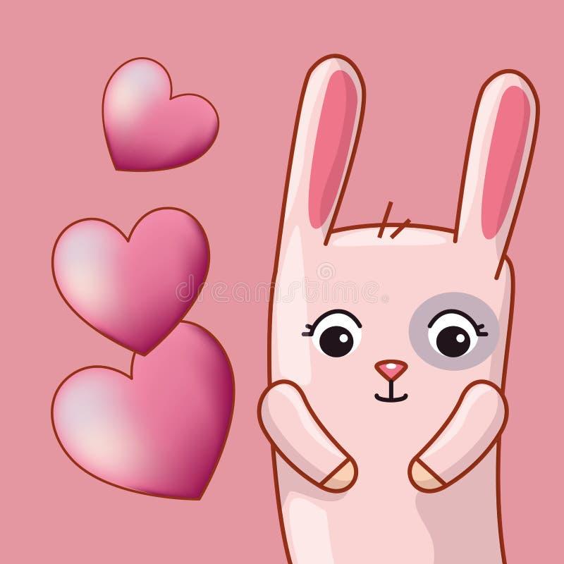 与心脏的兔子对愉快的情人节庆祝 库存例证