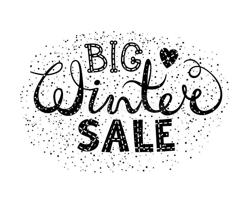 与心脏的冬天大销售文本字法 设计横幅、价格或者标签的季节性购物概念 皇族释放例证