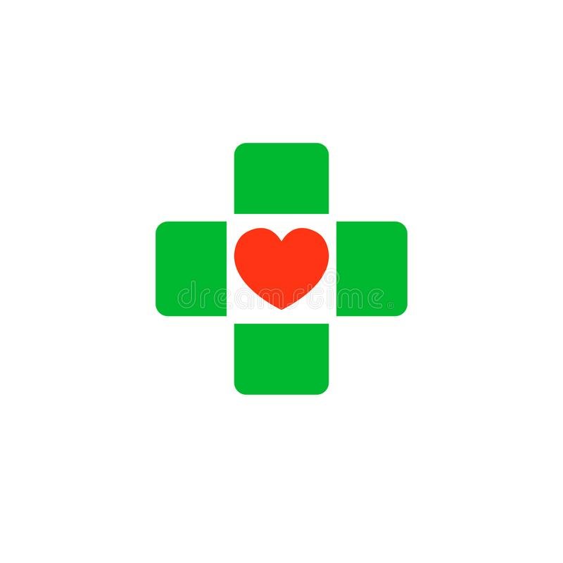 与心脏的十字架在中部 诊所的商标,制药公司 在空白背景查出的向量 库存例证