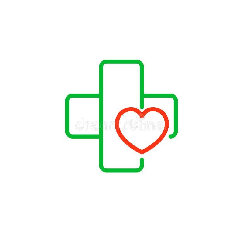 与心脏的十字架 诊所的商标,制药公司 在空白背景查出的向量 库存例证