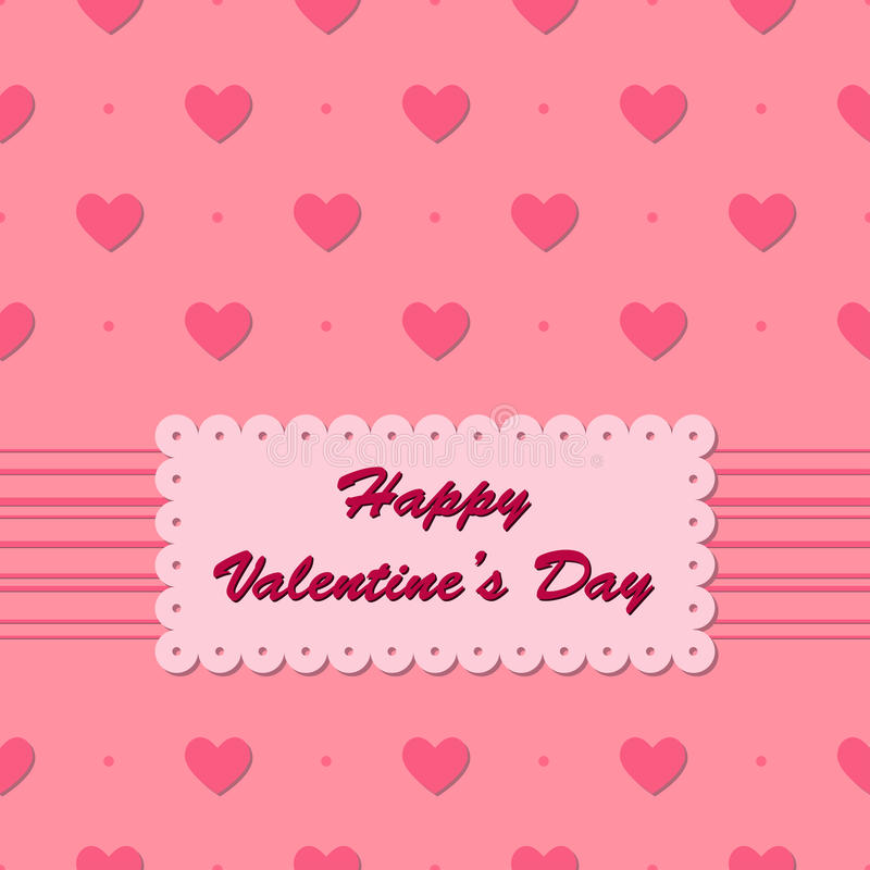 与心脏的华伦泰卡片在桃红色背景 库存例证