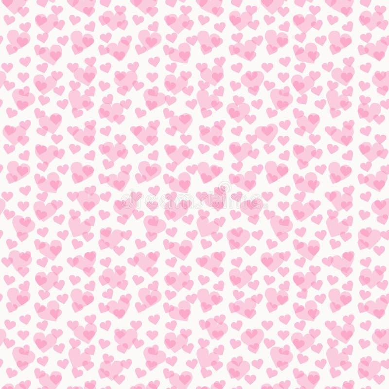 与心脏的华伦泰无缝的样式在白色背景 向量例证