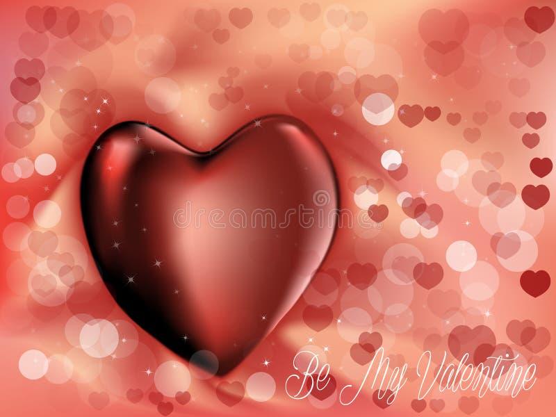 与心脏的可爱的华伦泰背景 免版税库存图片