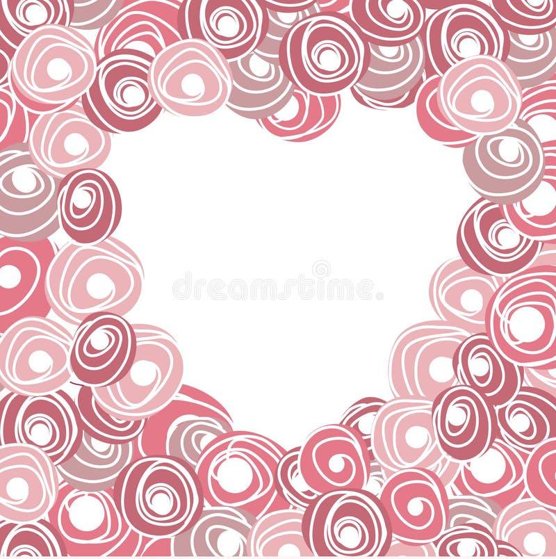 与心脏的喜帖从玫瑰 动画片花卉玫瑰色心脏 向量例证