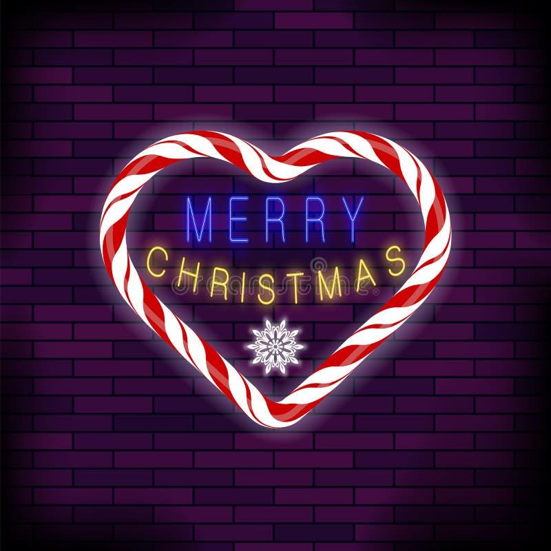 与心脏的圣诞快乐五颜六色的霓虹灯广告在砖背景 向量例证