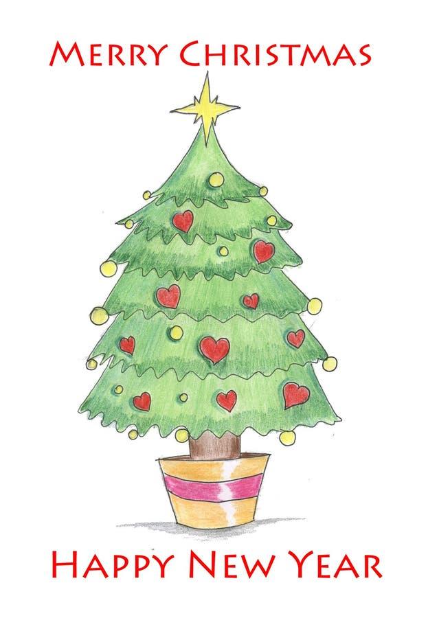 与心脏的圣诞树 免版税库存图片
