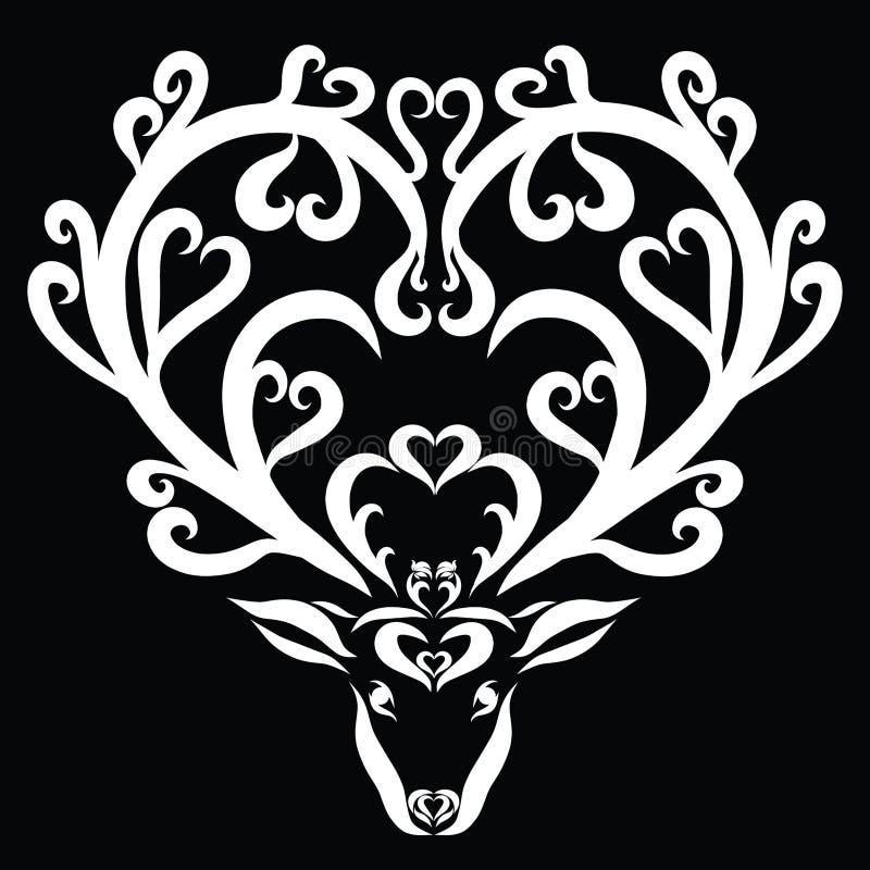 与心脏的在垫铁的鹿和花,言情 库存例证