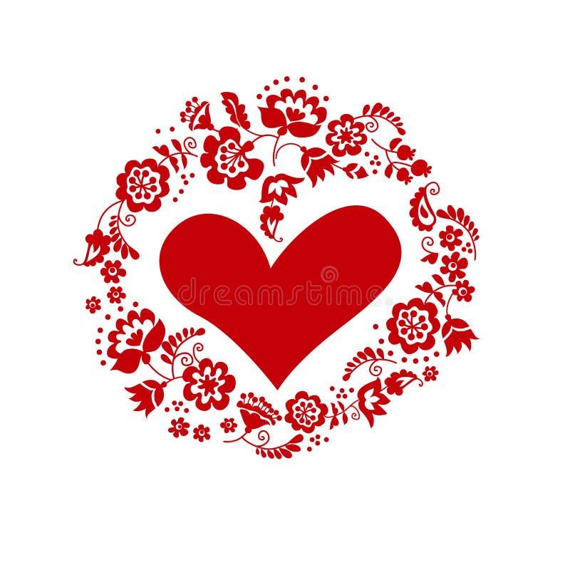 与心脏的婚姻的花圈 传统欧洲乌克兰orname 向量例证