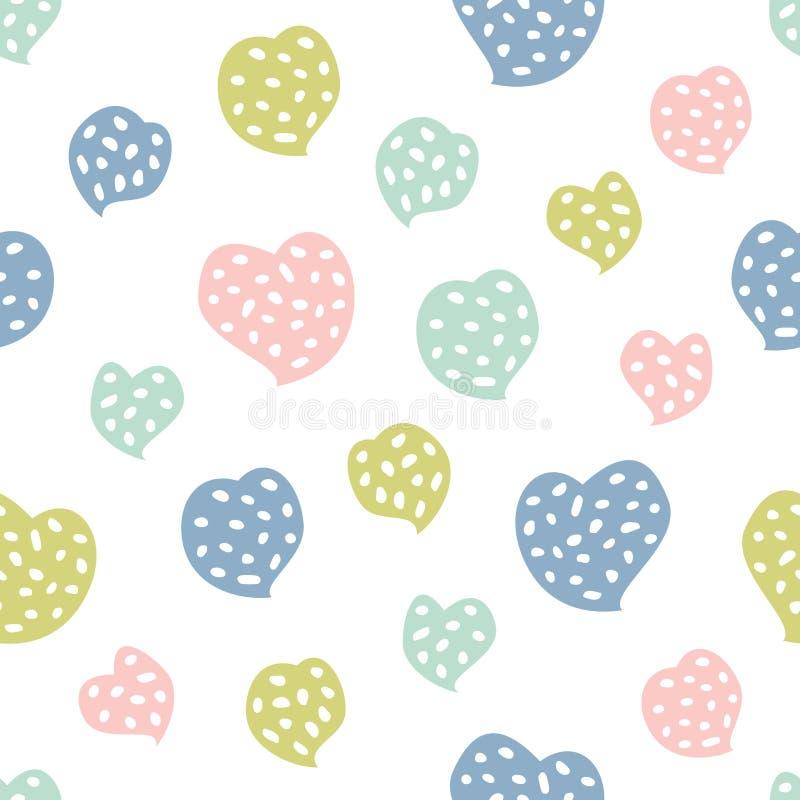 与心脏的幼稚无缝的样式 织品的创造性的纹理 向量例证