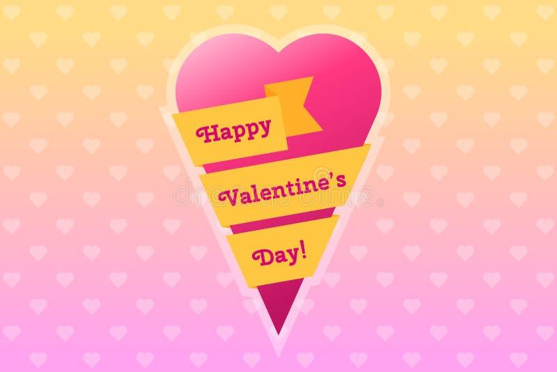 与心脏的情人节卡片包裹与丝带 向量例证